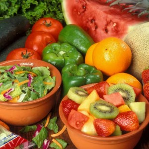 fresh cut fruits and vegetables